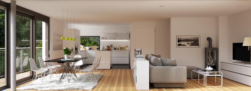wnętrze mieszkania otwarta przestrzen jadalnia kuchnia i salon wykonane w nowoczensym stylu